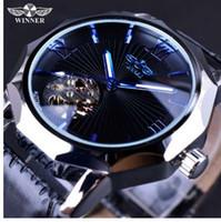 relógio de luxo vencedor venda por atacado-Vencedor Blue Ocean Geometria Design Dial Skeleton Transparente Mens Watch Top Marca de Luxo Automático Moda Relógio Mecânico Relógio