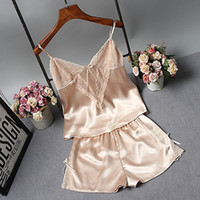 Pajama Suit For Women Sexy Imitated Silk Lace Summer Cami Tops Shorts Sleep  Set Fashion Lady V Neck Nightwear Pajamas Sleeveless 95de0d20b