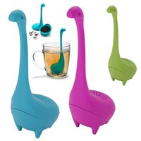 Wholesale wholesale tea infuser mugs - Loch Ness Monster Tea Strainer Silicone Tea Infuser For Mug Drinking Cup Coffee Filter Baskets Kitchen Dining Bar Teaware Tools HH7-1261