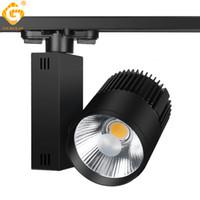 seguimiento de cable al por mayor-Iluminación de riel Lámpara de riel Spot 30W COB Ropa Zapatos Tienda Luces de riel Foco LED Foco Lámpara de luz 2/3/4 cable 3 fase 10pcs / lot