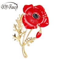 красная масляная краска оптовых-Sangdo Newest Women Brooches Red Poppy Flower Corsage Fashion Oil Painting Brooches ZK25
