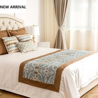 Wholesale Hotel Bedding Runner - New Arrival Mediterranean Hotel Jacquard Bed Runner Flag Polyester Tail Towel Flower Printed Bedspread Bed Cover Towel 50*240cm