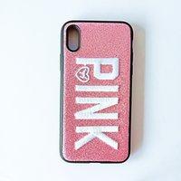iphone fall weihnachten großhandel-Luxus Designer ROSA Abdeckung Mode-Design Glitter 3D Stickerei Liebe Rosa Telefon Fall für IPhone X S XS XR Weihnachten IPhone 8 7 6 6 S Plus Fällen