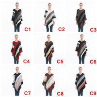 örme örme şal toptan satış-Kadın Çizgili Püskül Panço Kazak Örgü Eşarp Wrap Gevşek Şal Vintage Eşarplar Cloak Coat Kız Kış Sıcak Ev Giysileri AAA1079