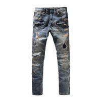 luzes brancas venda por atacado-Clássico Balmain Calças de Alta Qualidade Luz branco Slim-fit Buraco Jeans Mens Implorando Estilo Buracos Jeans Moda Vintage