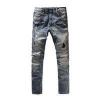 ingrosso pantaloni d'epoca-Pantaloni classici Balmain di alta qualità Jeans buco slim fit bianco chiaro Mens fori stile vintage Jeans moda vintage