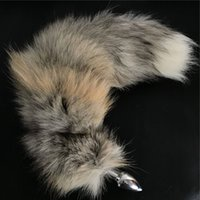 Wholesale girl toys plugs for sale - 16 quot Real Genuine Golden Island Fox Fur Tail Plug Anal butt plug Cosplay Toy Keychain keyring Handbag Accessory