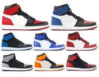 new box shoes toptan satış-Yeni 1 Yüksek OG Bred Toe Chicago Yasaklı Oyunu Kraliyet Basketbol ayakkabı Erkekler 1 s Top 3 Parçalanmış Panyası Gölge Renkli Sneakers Ile Sneakers