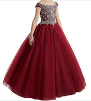 Wholesale blue flowers photos online - Burgundy Girls Pageant Dresses For Little Girls Blue Gowns Toddler Turquoise Kids Ball Gown Glitz Flower Girl Dress Weddings Beaded