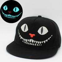 Wholesale fluorescent snapback - Fashion Luminous Fluorescent Baseball Cap Blue Light Human Skeleton Cat Monsters Face Snapback Hip Hop Men Hat 6 5rc ff
