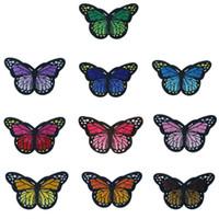 diy kelebek el sanatları toptan satış-10 Renkler Işlemeli Yamalar Kelebek Dikiş Demir On Nakış Rozetleri için Çanta Kot Şapka T Gömlek DIY Aplikler Craft Dekorasyon