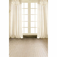 Wholesale photography backdrops interiors online - Interior White Curtain Vinyl Backgrounds Window for Photo Studio Crystal Chandelier Kids Wedding Photography Backdrop Wood Floor