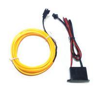 12v el tel araba toptan satış-Haoyuehao Yeni 5 M KıRMıZı EL-Tel 12 V Araba İç Dekor Floresan Neon Şerit Soğuk ışık Bant Ücretsiz kargo