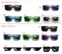 Wholesale plastic toy glasses - Thug Life Vintage Mosaic Sunglass for Adults Kids Novelty Unisex Pixel Sunglasses Trendy Minecraft Glasses show Props Children Gift New