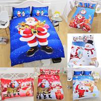 jogo de cama natal santa venda por atacado-3D Impresso Conjuntos de Cama de Natal 3 pçs / set Capa de Edredão Fronhas Papai Noel Boneco de Neve Decoração de Natal Presente Livre DHL WX9-1026