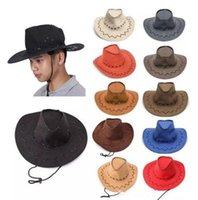 Wholesale cowboy cowgirl - Western Cowboy Hats Men Women Kids Brim Caps Retro Sun Visor Knight Hat Cowgirl Brim Hats Kids Mongolia Prairie Summer Outdoor Tourism hats