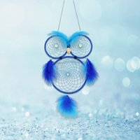 Wholesale lighted wind chime - New Arrival Dream Catcher Night Light Beaded Owl Shape Circular Wind Chime With Feather Home Wall Decoration Ornament Popular 16 5ms BB