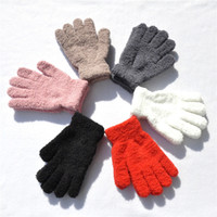 guantes de invierno para adultos al por mayor-Invierno Cálido Más Guantes de Terciopelo Engrosamiento Para Hombres Mujeres Accesorios Guantes Adultos Color Sólido Guante de Punto de Felpa H928Q