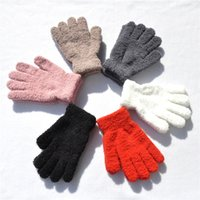 Wholesale warm gloves for women pink for sale - Group buy Winter Warm Plus Velvet Thickening Gloves For Men Women Accessories Gloves Adult Solid Color Plush Knitted Glove H928Q