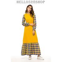 24502d025304 Frauen Kaftan Maxi Kleid Plaid Slim Fit Abaya Muslime Stil Kleid Kleider  Lange Pullover Ganzkörperansicht Gelb