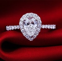 ingrosso pere placcate in argento-Anelli in argento sterling per gioielli in oro bianco 18 carati Placcato Never Fade