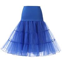 gelin kısa elbiseleri tutu toptan satış-Kısa Gelin Petticoat Kabarık Etek Vintage Düğün Gelinlik için Jüpon Jüpon Rockabilly Tutu Kaya ve Bale Etek