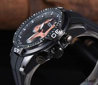 relógio de marca prata venda por atacado-Luxo Auto Data Table homens REINO UNIDO relógio gra Marca presunto cronômetro caixa de prata pulseira de borracha preta de quartzo big bang james offshore relógio de pulso