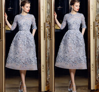 jackets sleeve for prom dresses NZ - Lavender Half Sleeve Prom Pageant Dresses 3D Floral Appliques with Beading Pearls for Women Organza Ellie Saab Formal party evening Dresses