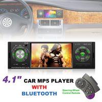 auto audio tft großhandel-P5120 4,1 Zoll 1 Din Bluetooth Auto MP5 Player TFT Bildschirm Stereo Audio FM Station Auto Video mit Fernbedienung CMO_22Q