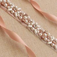 ceinture en or faite à la main achat en gros de-Ceintures de mariage en or rose 2019 Nouveau luxe strass Perles Ceinture Robe de mariée accessoires Ceinture