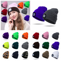 Wholesale fashion army hats for sale - 17 Colors LED Light Battery Knitted Hat Type Winter Beanies Fishing Camping Cap Hat adult Camping Outdoor Crochet Party Hat AAA1032