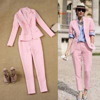 ingrosso blazer button set-LXUNYI Pink 2 pezzi Pant Suit Women Formal White Suit Femminile Office Slim Ladies Intervista Abiti One Button Pants e Blazer Set