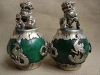 Wholesale brass dog statue - CHINESE PAIR OF Tibet SILVER DRAGON JADE Foo dog STATUE