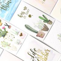 cadernos escola bonito venda por atacado-Domikee bonito dos desenhos animados cactus notebooks índice de papel divisor de acessórios, papelaria fina escritório da escola papelaria bookmark