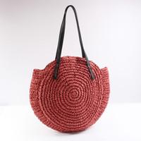 hand bag straps UK - Summer New Red Straw Handbag Big Capacity Hand Crochet Shoulder Bag 2018 Hot Round Travel Rattan Bag PU Strap Splice Beach Bag