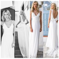 Wholesale Slim Lace Gowns - 2018 Sexy Spaghetti Lace Appliques Chiffon Backless A-Line Beach Bridal Gowns Vintage Boho Wedding Gowns Backless Slim Custom