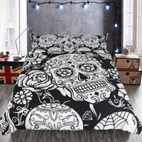 ingrosso skull bedding-Moda geometrica nero bianco modello del cranio biancheria da letto Set di stile europeo e americano personalità copripiumino federa 3 pezzi set