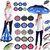 New High Quality Windproof umbrella Double layer straight pole reverse umbrella Inverted umbrella C Handle Umbrellas T2I384