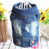 Wholesale Dog Costume Large - New 2017 Spring Autumn Pet Products Dog Clothes Pets Coats Cave Denim Puppy Dog Clothes for Dog XS-2XL Jeans Jacket Casual Style