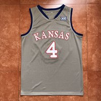 Wholesale ku jayhawks - #4 Devonte Graham Kansas Jayhawks KU Throwback College Grey Basketball Jersey Men's Embroidery Stitches Customize any Number and name