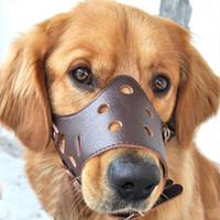 perros contra el cuello de la corteza al por mayor-Perro mascota máscara ajustable corteza anti Bite malla suave boca bozal y estética Chew collar de perro de parada Por tamaño pequeño perro grande XS-XL