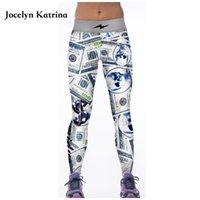 ingrosso danza pantaloni stretti yoga neri-Jocelyn Katrina Yoga Pantaloni Stampa Running Yoga Leggings Nero Bianco Danza Skinny Collant Vita alta Pantaloni sportivi