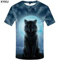 Wholesale Sexy Male Japanese - KYKU Brand Wolf Shirt Moon T Shirts Moonlight T-shirt Men 3d T Shirt Animal Sexy Male Shirts Japanese Mens Clothes Mens Tee