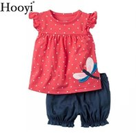 Wholesale Girls Purple Tracksuit - Fashion Baby Clothes Suit Dragonfly Red Newborn Clothing Sets Girl T-Shirt Jumpers Shorts Pants Summer Outfit 6 9 12 18 24 Month Tracksuit
