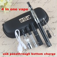 Wholesale wax vape pens glass domes resale online - 4in1 Wax Oil Dab Glass Globe Dome Vape Pens UGO T in One Dry Herb Eliquid in EVOD EGO Vaporizer