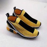 cristales de moda al por mayor-2018 zapatillas de marca de lujo más nuevos zapatos moda cristales de plata letras mujeres y hombres zapatos de calcetín rhinestone amarillo con caja tamaño 35-46