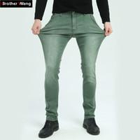 ingrosso uomini di moda neri jeans verde-Il fratello Wang Brand 2017 Jeans da uomo nuovi Jeans moda Slim Skinny Jeans pantaloni casual pantaloni verde blu nero
