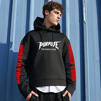 ingrosso tiro streetwear-Marca Scopo Tour Hoodies degli uomini regolare Justin Bieber Streetwear Hip Hop di marca Felpe Hi Via Uomini Swag Tyga con cappuccio Moda S-3XL