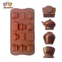 molde de chocolate magdalena al por mayor-Galleta tetera reloj Cupcake forma de silicona del molde del chocolate para la fabricación de chocolate de la galleta de la jalea, fiesta de cumpleaños de la boda Baby Shower dulces moldes