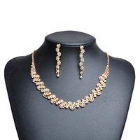 conjuntos de collar de boda de diamantes de imitación al por mayor-Conjunto de joyas africanas Crystal Tennis Drop Earrings Necklace Set nuevo collar de diamantes de imitación Pendientes nupcial de dama de honor Wedding Sets